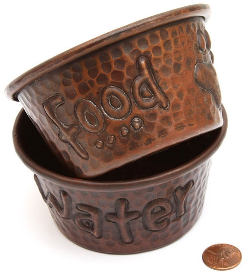 Mini 4 inch Hammered Copper Food and Water Dog Bowls (Set of 2)