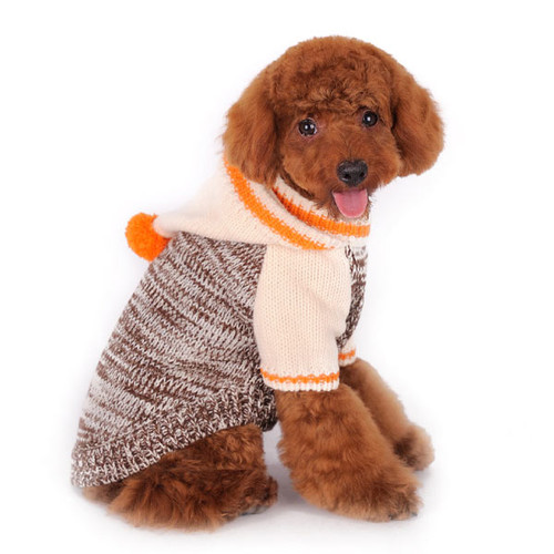 Dog Hoodie Sweater - Beige Contrast