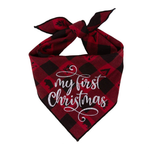 Christmas Dog Bandana - My First Christmas Red Plaid
