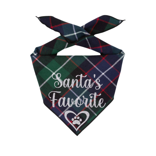 Christmas Dog Bandana - Santa's Favorite Green Plaid