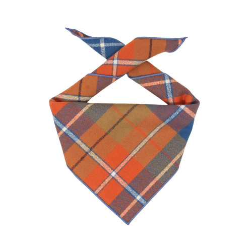 Dog Bandana - Orange Blue Plaid Luxe Flannel