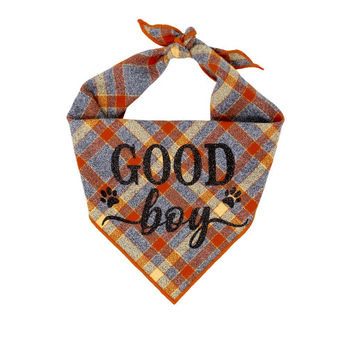 Dog Bandana - Good Boy Grey Luxe Flannel