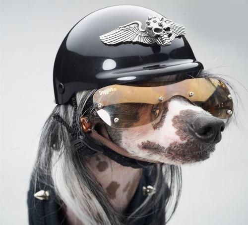 Winged Spiked Skull Dog Helmet