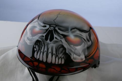 Airbrushed Orange Skull Dog Helmet