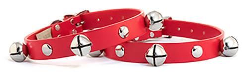 Dog Collar   Christmas Jingle Bells Red Leather Dog Collar