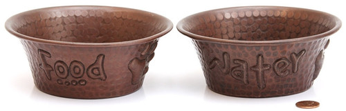 Small 5 inch Hammered Copper Food and Water Dog Bowls (Set of 2)