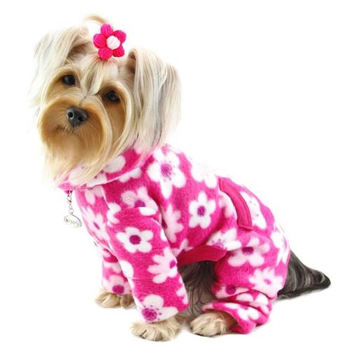 Fleece Pink Flowers Dog Pajamas