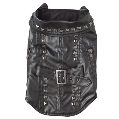 Black Pleather Biker Dog Jacket (RL-stud-jacket)