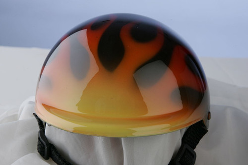 Airbrushed Traditional Flames Dog Helmet