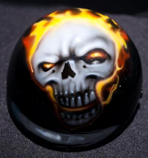 Airbrushed Flaming Skull Dog Helmet