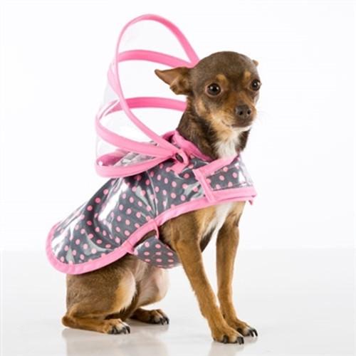 Pink Polka Dot Dog Raincoat