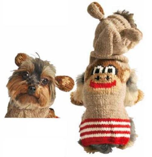 Fair Trade Sock Monkey Hoodie Dog Sweater