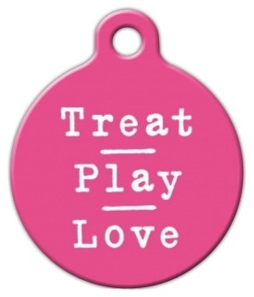Pink Treat Play Love Dog ID Tag