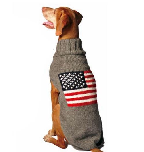 Fair Trade American Flag Hoodie Dog Sweater