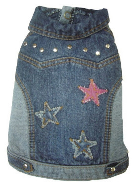 Dog Denim Jean Jacket with Stars
