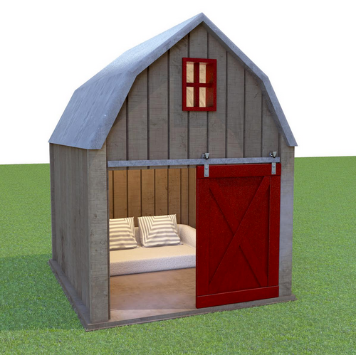 reclaimed barnwood dog house with gambrel roof