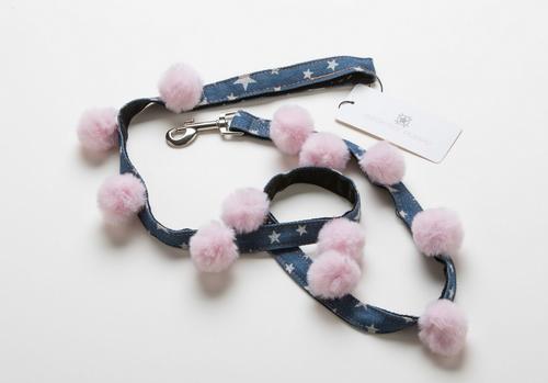 pink pom pom star print denim dog leash