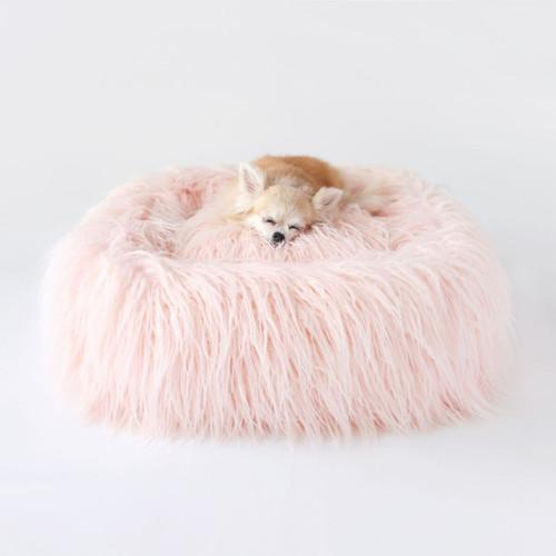 Luxurious Plush Faux Fur Mongolian Lamb Fur Dog Bed