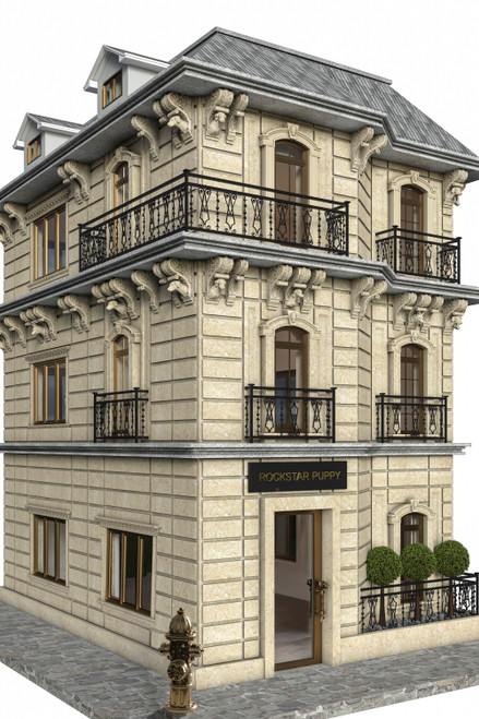 Custom limestone dog house