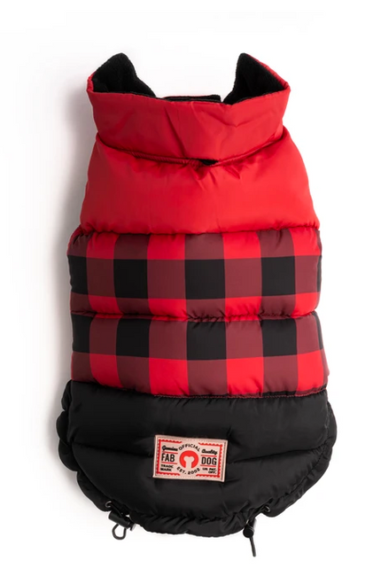 red plaid color block puffer coat