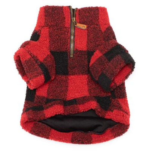 Red Plaid Sherpa 1/4 Zip Pullover