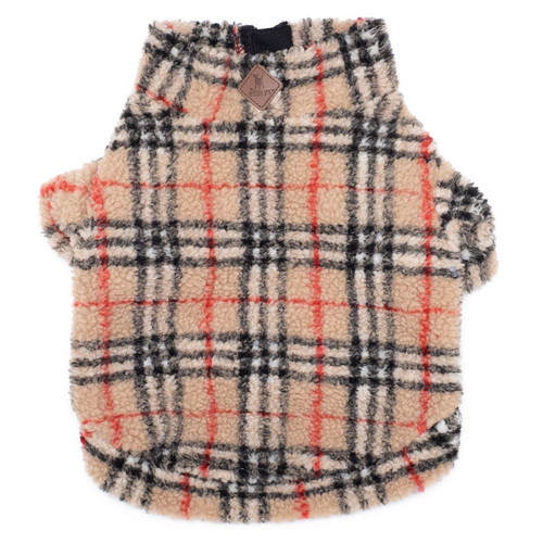 worthy dog tan plaid sherpa pullover