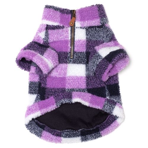 worthy dog purple plaid sherpa pullover
