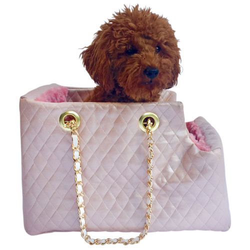 pearl pink quilted leather dog carrier by dog squad