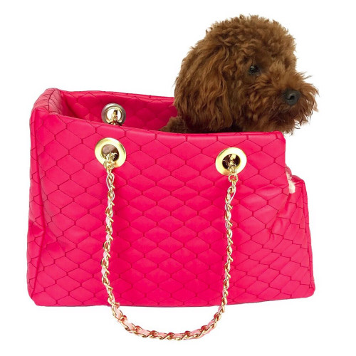 hot pink quilted leather dog carrier by dog squad
