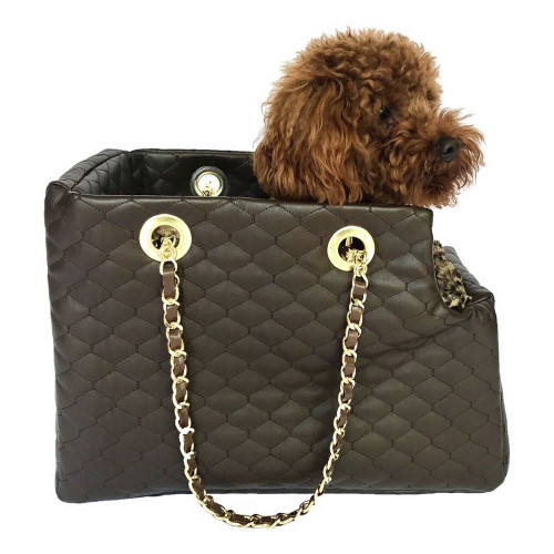 brown quilted leather dog carrier by dog squad