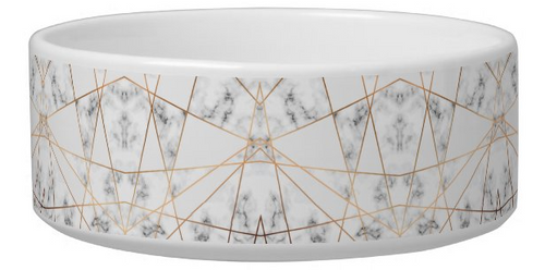 modern marble pet bowl