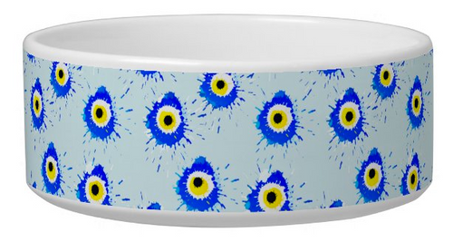 Artsy Evil Eye Dog Bowl