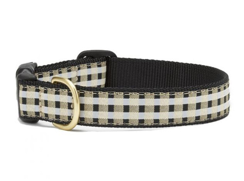 Black Gilt Check Dog Collar