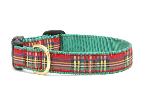 Christmas Sparkle Plaid Dog Collar