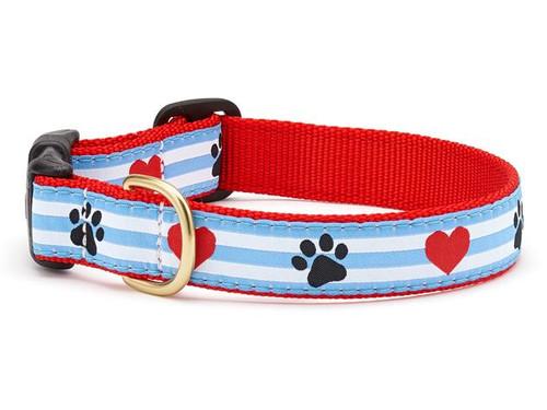 Pawprint Stripe Dog Collar