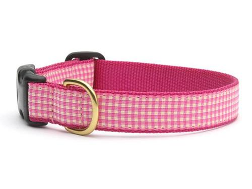Pink Gingham Dog Collar