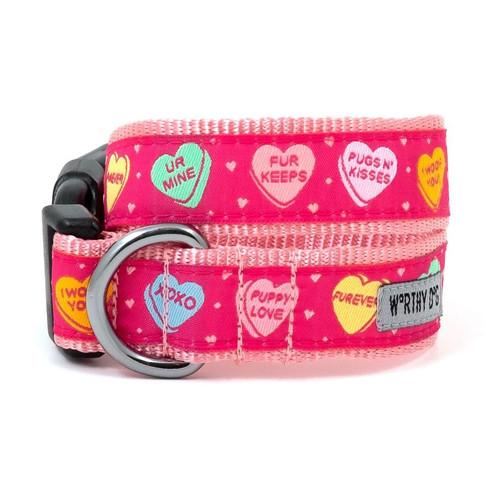candy hearts dog collar