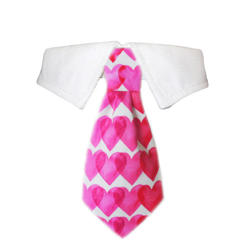 shirt collar with detachable heart print tie for dogs