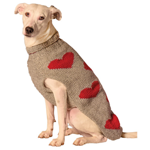Fair Trade Red Hearts Dog Sweater