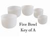 5 Bowl Key Of A Harmonic Chord Crystal Singing Bowl Set