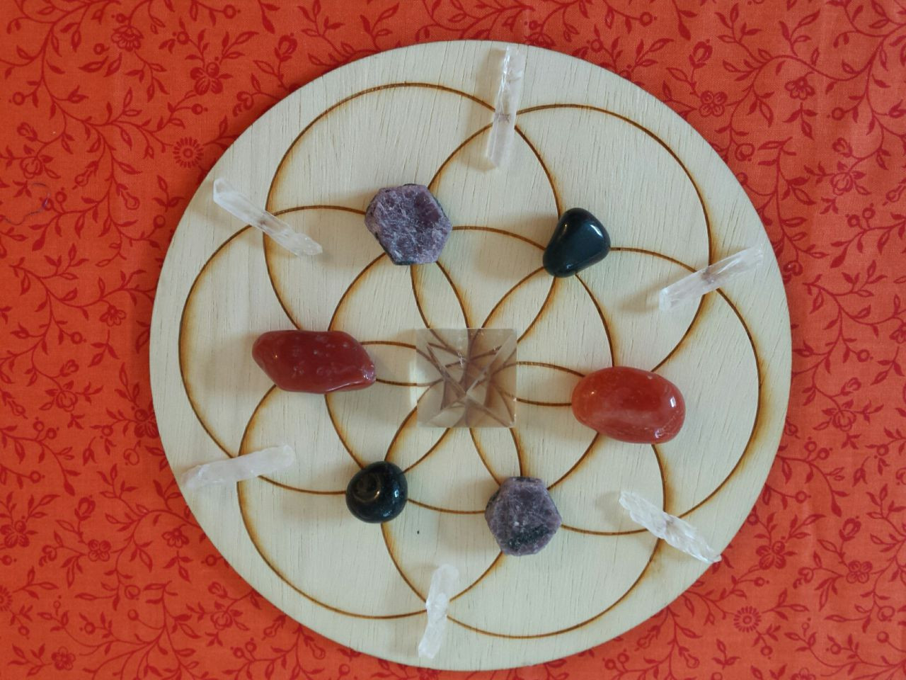 Sacred Geometry Grid Kit Wooden Grid w//Crystals /& Shells Choice of 12 Intentions