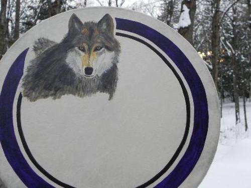 Wolf Drum Painting