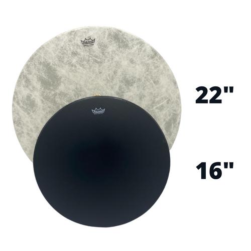 Remo Vegan Buffalo Drum with Black Bahia Buffalo Drum, Size Comparison