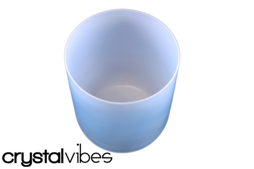 """432Hz 7"""" F#  Note Turquoise Opaque Crystal Singing Bowl -25 cents  11000600"""