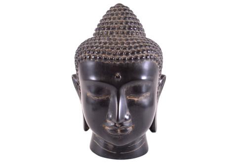 Lg Black Buddha Head Statue Gb30A