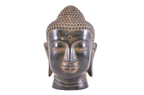 Lg Green Buddha Head Statue Gb30B