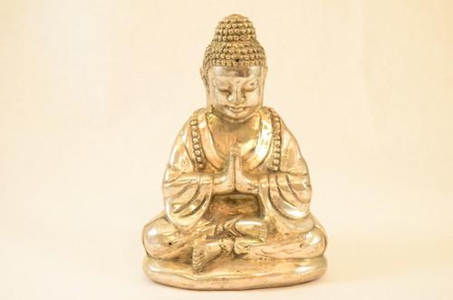 Xl Silver Praying Buddha Statue Gb13B