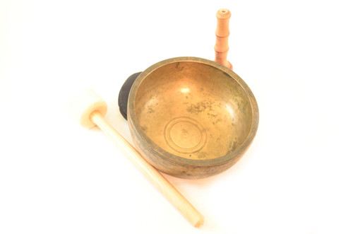 """8.25"""" F#/F# Note Antique Himalayan Singing Bowl #F13800716"""