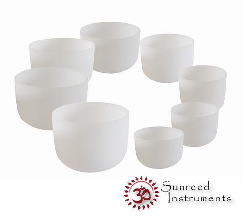 Just Intonation Tuned 8 Bowl Frosted Crystal Bowl Set