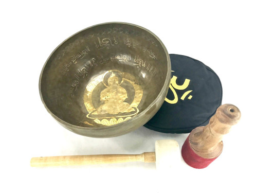 """12"""" C#/G Note Etched Golden Buddha Singing Bowl #g25350118"""